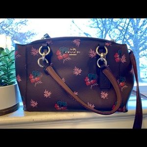 Coach Aubergine Floral Handbag & Crossbody Strap